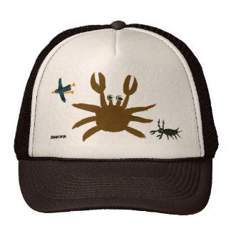 Art Cap: Crab,Bug,Bird. Brown Trucker Hat