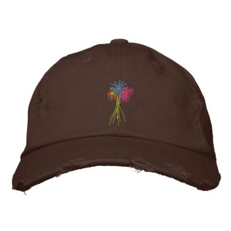 Art Cap: Flower Bunch. Colour Daisies Embroidered Hat