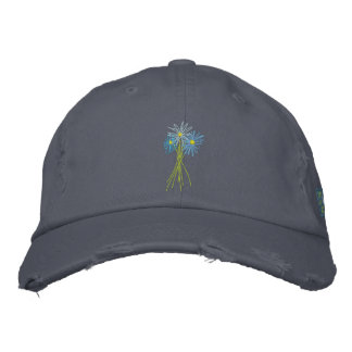 Art Cap: Flower Bunch. Cornish Blue Moon Daisies Embroidered Hat