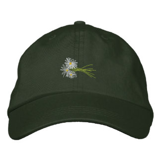 Art Cap: Flower Bunch. White Daisies Embroidered Hat