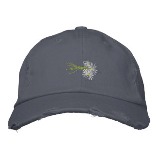 Art Cap: Flower Bunch. White Daisies Scruffy Blue Embroidered Hat