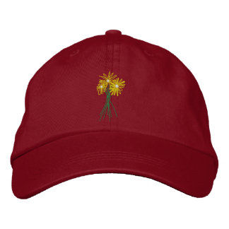 Art Cap: Flower Bunch. Yellow Daisies Embroidered Hat