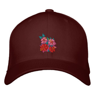 Art Cap: Hibiscus Flowers. Embroidered Baseball Caps