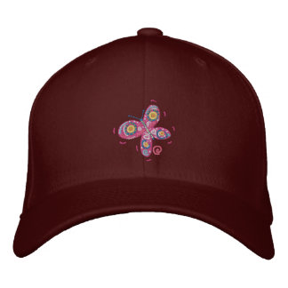 Art Cap: John Dyer Pink Butterfly Embroidered Hat