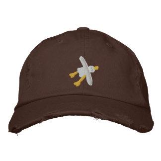 Art Cap: Scruffy Seagull Design. Chocolate Embroidered Hat