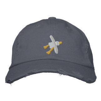 Art Cap: Scruffy Seagull Design Embroidered Hat