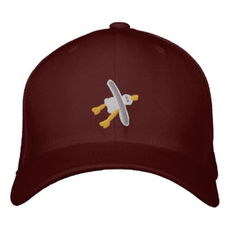 Art Cap: Smart Seagull Design. Maroon Embroidered Hat