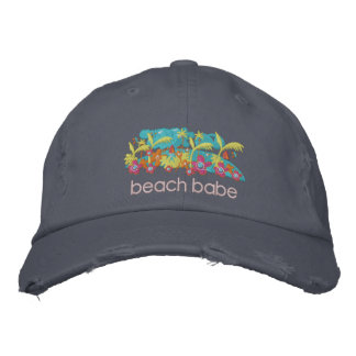 Art Cap: Tropical Beach Babe Design Embroidered Hat