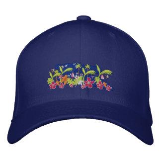 Art Cap: Tropical Design Deep Blue Sky Embroidered Hat
