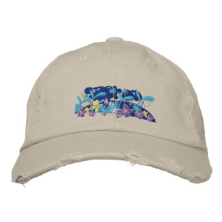 Art Cap: Tropical Moonlight Embroidered Hat