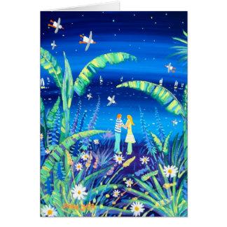 Art Card: Banana Plant Love. Lovers under Stars Card