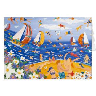 Art Card: Beachy Treats. Sunbathers and Sailing