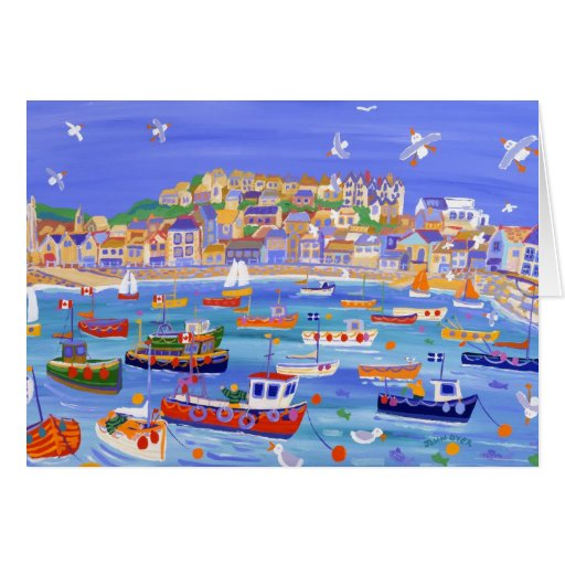 Art Card: Boats in the Harbour, St Ives Cornwall