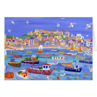 Art Card: Boats in the Harbour, St Ives Cornwall Greeting Card