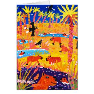 Art Card: Brazilian Capybara. Pantanal Brazil Card