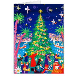 Art Card: Christmas Lights and Carol Singers Greeting Card