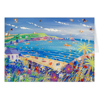 Art Card: Family Fun, Mother Ivey's Bay, Cornwall Greeting Card