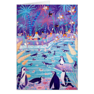 Art Card: Purple Penguin Party at the Zoo Greeting Card