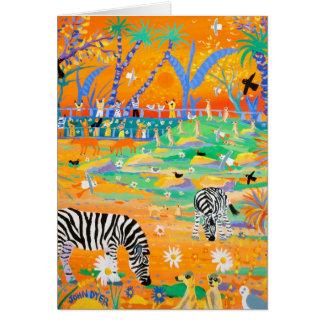 Art Card Stripy Safari Sunset at the Zoo Zebras