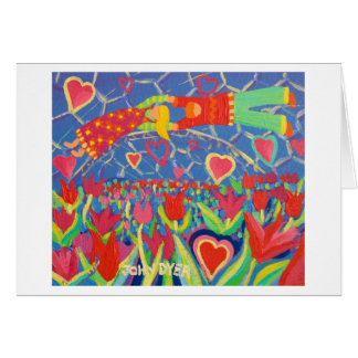 Art Card: Temptation in the Tulips. Valentine's Card