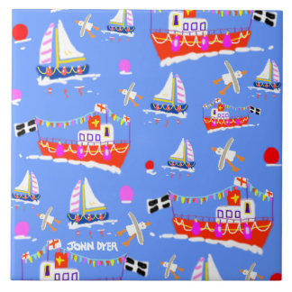 Art Ceramic Tile: Cornish Boats by John Dyer Tile
