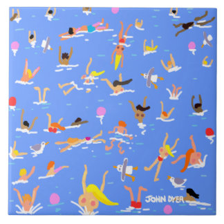 Art Ceramic Tile: Cornish Swimmers by John Dyer Tile