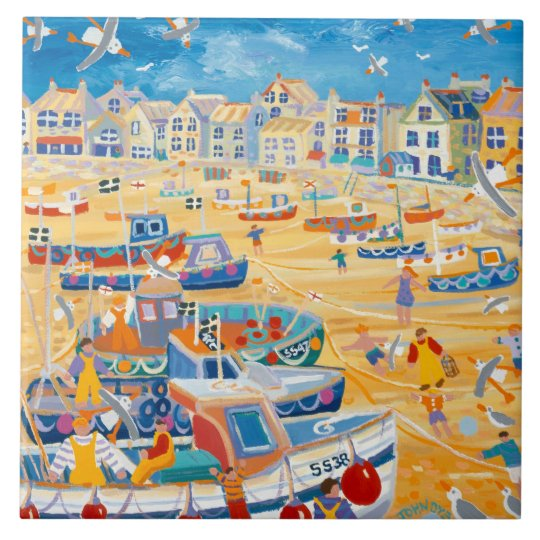 Art Ceramic Tile: John Dyer Boats & Ropes,