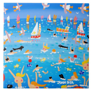 Art Ceramic Tile: John Dyer Swimmers Seals & Sails Tile