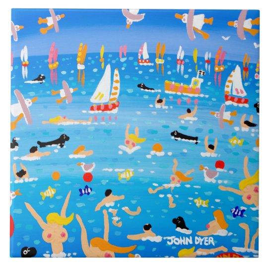 Art Ceramic Tile: John Dyer Swimmers Seals &