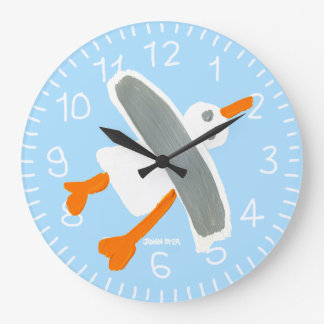 Art Clock: John Dyer Seagull Blue Large Clock