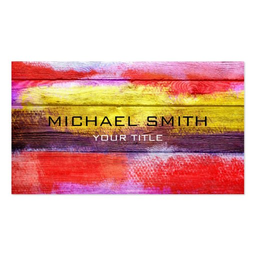 Art Color Acrylic Painting on Wood #2 Business Card Templates