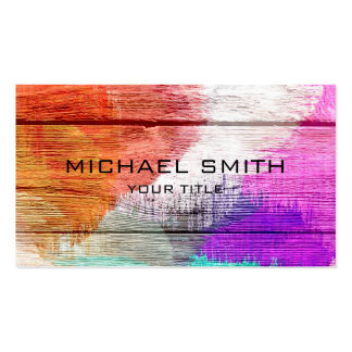 Art Color Acrylic Painting on Wood Pack Of Standard Business Cards