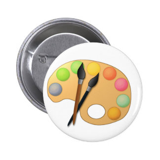 Art Color Palette with Two Brushes 6 Cm Round Badge