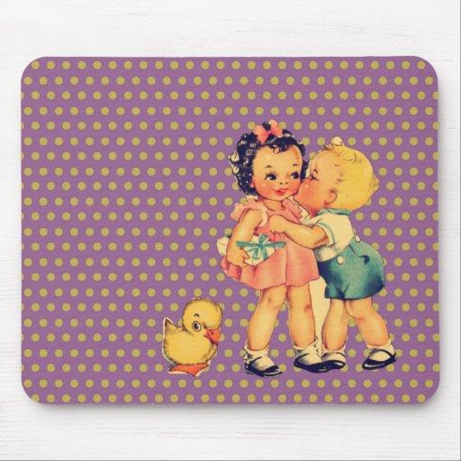 art cute retro children vintage school kids mousepad