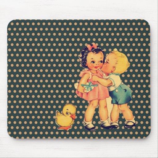 art cute retro children vintage school kids mouse pad