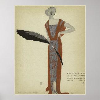 Art Deco 1920s Fashions ~ Rose du Soir Poster