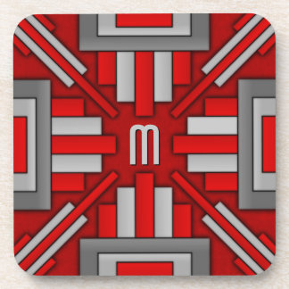 Art Deco 1920's Geometric Red-Gray Coaster