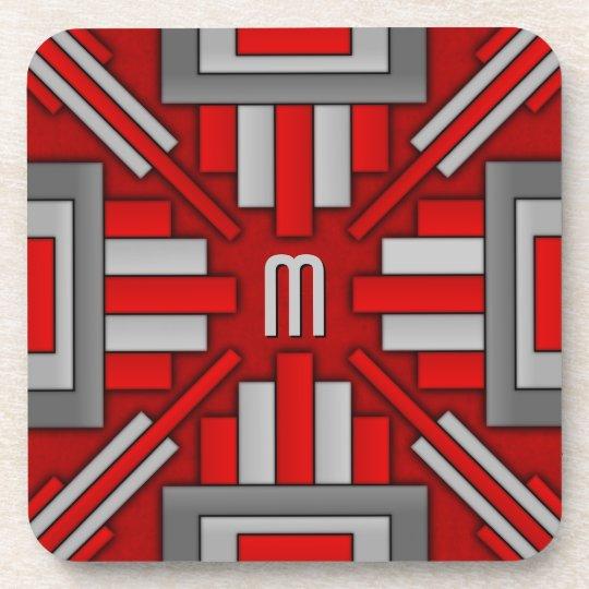 Art Deco 1920's Geometric Red-Grey Coaster