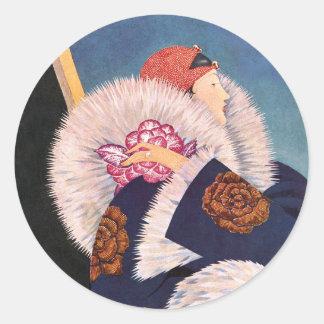 Art Deco 1920s Paris Fashion Round Sticker