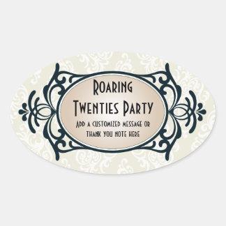 Art Deco 1920s Party Oval Sticker