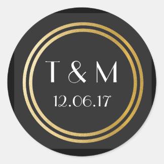Art Deco 1920s Stickers Black Gold Round Label