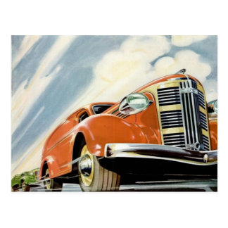 Art Deco 1930's Red Motor Postcard