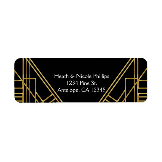 Art Deco 20's Gold & Black Gatsby address Labels