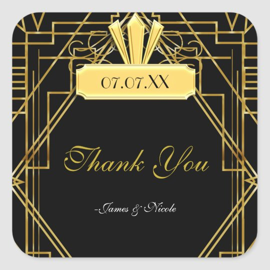 Art Deco 20's Gold & Black Gatsby Favour