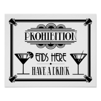 """Art Deco 20's style """"Cocktail Bar sign BLACK Poster"""
