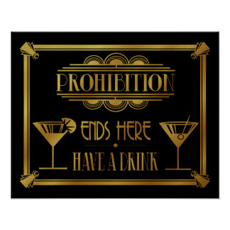 "Art Deco 20's style ""Cocktail Bar sign GOLD Poster"
