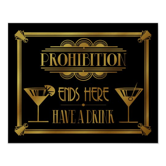 """Art Deco 20's style """"Cocktail Bar sign GOLD"""