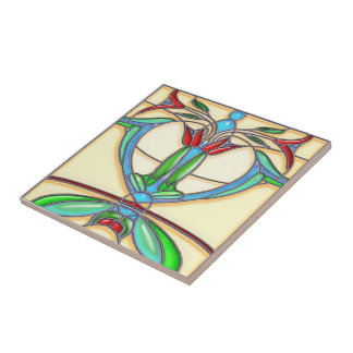 Art Deco Abstract Tulips Stained Glass Small Square Tile