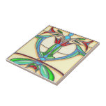 Art Deco Abstract Tulips Stained Glass Tile