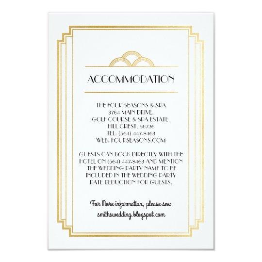Art Deco Accommodation Wedding Cards Details